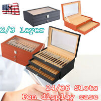 24/36 Fountain Pen Slot Display Case Organizer Storage High-grade Elegant PU