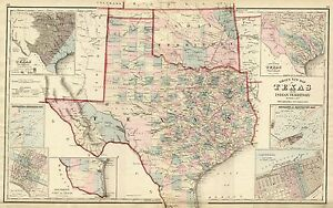 1876 TEXAS County Map~O.W.Gray Atlas-Superb~18x24