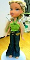LOOK A LIKE BRATZ DOLL LONG BLONDE HAIR JEANS GREEN TOP
