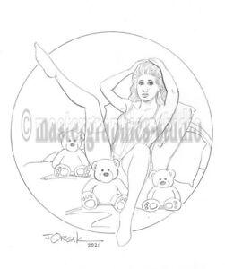 Sexy GOLDILOCKS & THE THREE BEARS original fantasy pin-up art by JOE ORSAK