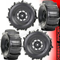 2 pair Traxxas 8475 Paddle Tires and Wheels Assembled for Desert Racer UDR RIGID