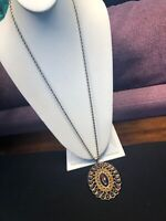 """Vintage Gold Large Brown Amber Lucite gold Pendant Necklace W/ 30"""" Rope Chain"""