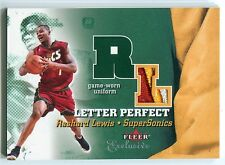 2001-02 Fleer Exclusive RASHARD LEWIS Letter Perfect 3 Color Patch Rare SP #/100