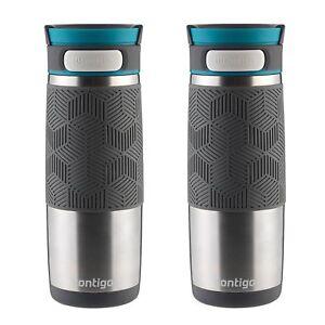 Contigo AUTOSEAL Transit Travel Mug 16oz Stainless w/ Blue Lid Thermos (2-Pack)