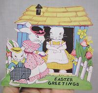 VTg Easter Card 1930s Diecut Anthro Bunnies Pastel Colors