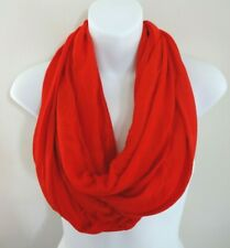 Infinity Scarf Red Solid Color Polyester Fabric Single Or Double Loop