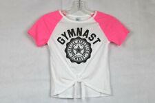 "Justice Girls' Size 7 ""GYMNAST"" Shirt and Tie Hemline - Glittery Black Graphic"