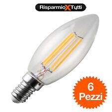x 6 LAMPADINA OLIVA 4W LED FILAMENTO E14 FIAMMA LAMPADA LUCE CALDA LED BULB