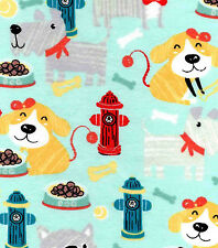 Puppy Playtime Snuggle Cotton Flannel Fabric - BTY - Puppies & Dogs on Aqua