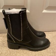 Zara Black Studded Biker Boots Croc Eu 37 UK 4 New With Tags Sold Out