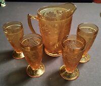 VINTAGE TIARA SANDWICH GLASS AMBER PITCHER & TEA / LEMONADE GLASSES. 5-pc Set.