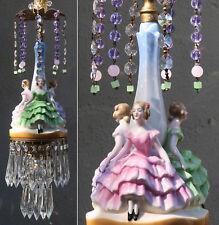 SWAG lamp vintage Porcelain Brass lady dress crystal prism chandelier wedding de