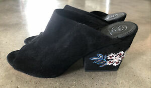 GUC Tory Burch Embroidered Floral Wedge Mule Sandals Black Royal Suede Sz 9