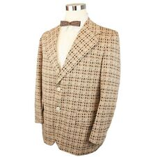 Vtg 70s Mens Sports Coat 40R Polyester Brown Houndstooth Plaid 2 Button Disco