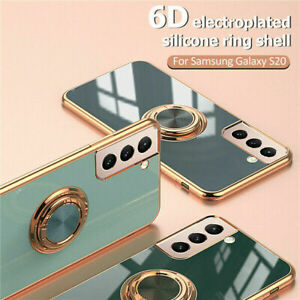 For Samsung Galaxy S21 Ultra Plus S20 FE Magnetic Ring Holder Rubber Case Cover