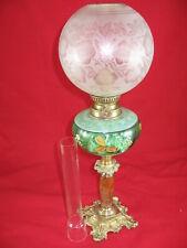 lampe à pétrole peinte émaillée globe bronze complète