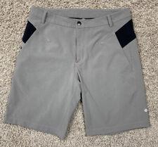 "Lululemon 10"" Mens Athletic Stretch Shorts- Gray/Black-Tagless (34x10)"