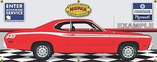 1973 PLYMOUTH 340 DUSTER RED/WHITE CAR GARAGE SCENE BANNER SIGN ART MURAL 2'X5'