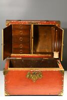 Victorian sewing chest box with original red paint