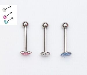 Choice of 3 gorgeous epoxy crystal tongue bars lovely designs