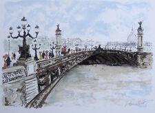 """Magnificent Original HUCHET Lithograph """"The Pont Alexandre Bridge"""" SIGNED COA"""