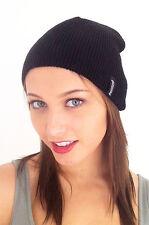 Slouch Skate Beanie, Skull Cap, Knit Winter Ski Hat in Black, Unisex