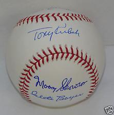 1961 New York Yankees Infield Autograph / Signed Baseball Tony Kubek Clete Boyer