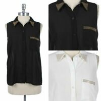 Women's Studded Accent Collared Blouse Sleeveless Button Down Shirt Sheer S M L