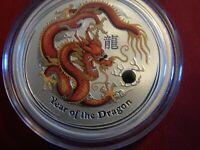 2012-P 1/2 oz. $1 Australia Year of the Dragon Red & Tan Gem BU Silver