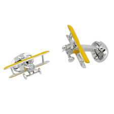 Deakin and Francis Silver & Enamel Yellow Bi Plane Cufflinks