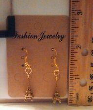 Handmade Gold Plated 3D Eiffel Tower Dangle Earrings - Free Shipping