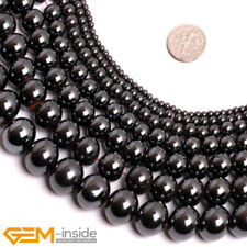 """Natural Round Magnetic Hematite Healing Loose Beads For Jewellery Making 15"""" AU"""