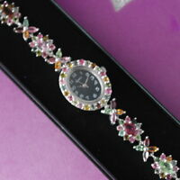 """11.35 CT. NATURAL AAA MULTI COLOR TOURMALINE STERLING 925 SILVER WATCH 7"""" INCH."""