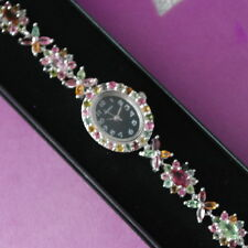 "11.35 CT. NATURAL AAA MULTI COLOR TOURMALINE STERLING 925 SILVER WATCH 7"" INCH."