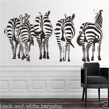 Large Zebra Herd Group Wall Decal Sticker DIY Home Living Nursery Decor (Black)