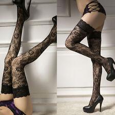 Damen Halterlose Strümpfe Floral Strapsstrümpfe Spitze Leggings OverkneeSockNeu