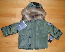 DKNY Baby Boys Winter Jacket Parka Olive Faux Fur Trim Toddler 12M 2 2T NWT