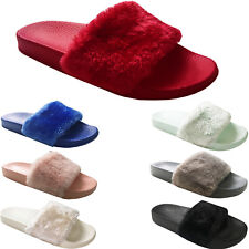 Womens Ladies Flat Fluffy Flip Flops Faux Fur Slidders Slippers Slip On Shoes