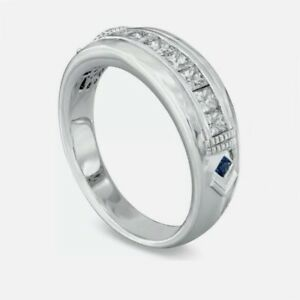 0.82Ct White & Blue Princess Diamond Men's Engagement Ring 925 Sterling Silver