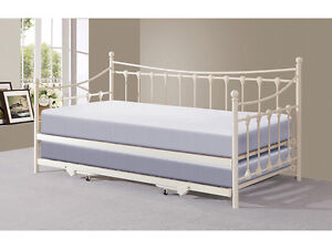 Guest Bed Traditional Victorian Metal 3FT Day Bed with Trundle Black or Ivory