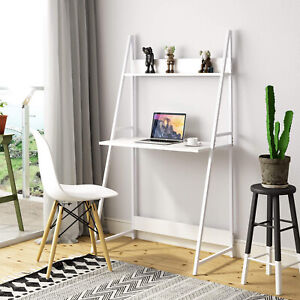 2 Tier Ladder Computer Desk Laptop Wood Writing Table with Shelf Storage White