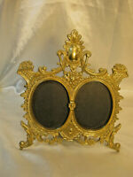 BRASS ORNATE VICTORIAN PICTURE FRAME WITH AREA FOR 2 OVAL PICTURES 1920's