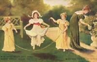 1908 VINTAGE DELIGHTFUL SCENE of YOUNG GIRLS SKIPPING JUMPING ROPE POSTCARD USED