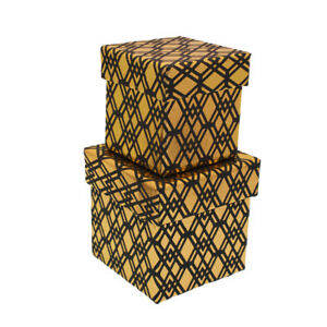 Nested Set Nested of 2 Gift Boxes - 2 x Black & Gold WAS £7.25 NOW £4.25-GBS39