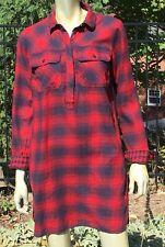 J.  Crew  Red Plaid Flannel Shirt Dress!  S