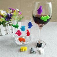 12 Silicone Suction Wine Glass Bottle Drink Markers Charm Cup Identify Label DB
