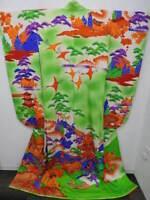 Rare Antique Red Silk Crepe Brocade Kimono wGold Leaf Cranes /& Cloud Design