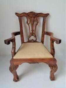 Large Antique Chippendale Style Arm Chair for Doll Salesmans Sample Furniture