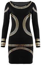 Nouveau Femme Longue Feuille D'or Crayon Midi Robe moulante soirée robes 16-26
