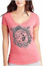 True Religion Women's Flower Bowl Buddha Rounded V Neck Tee T-Shirt in Pink